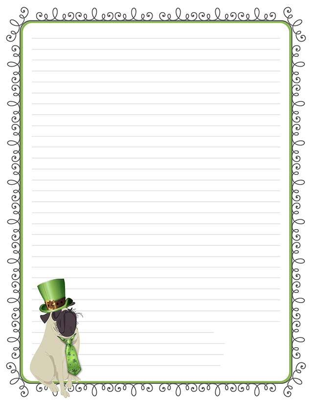 St. Patrick's Day Pug Stationery Free Printable