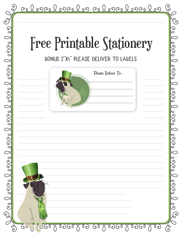 St Patrick's Day Irish Pug Stationery