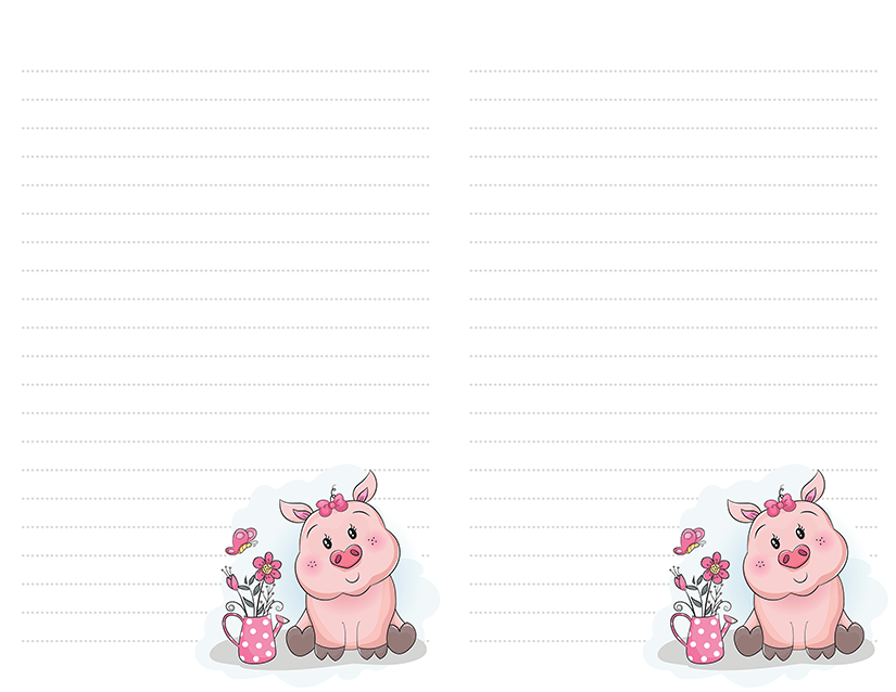 Cute Cartoon Pig Stationery
