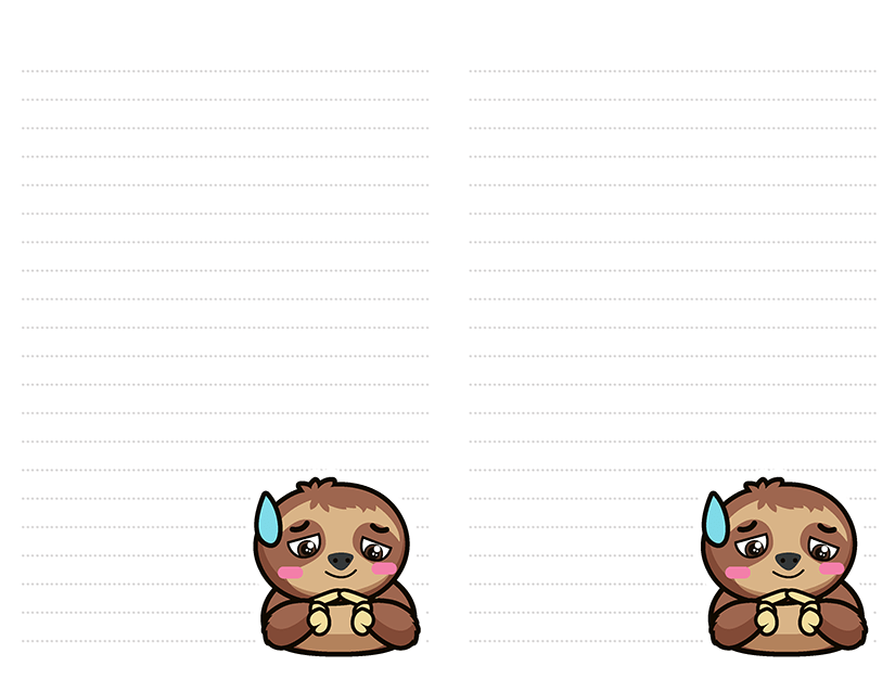 sloth stationery free download