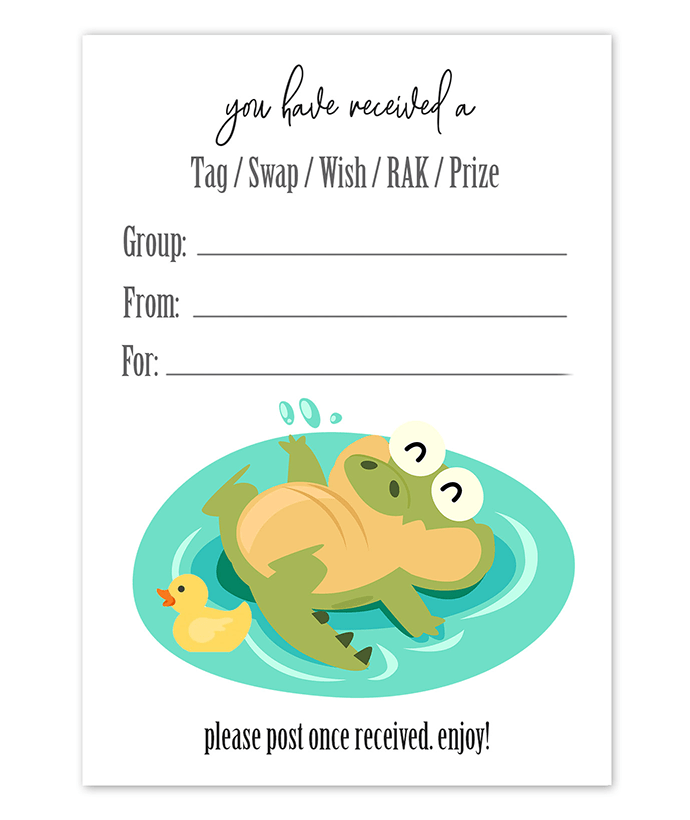 Swimming Pool Alligator Snail Mail Tag Inserts