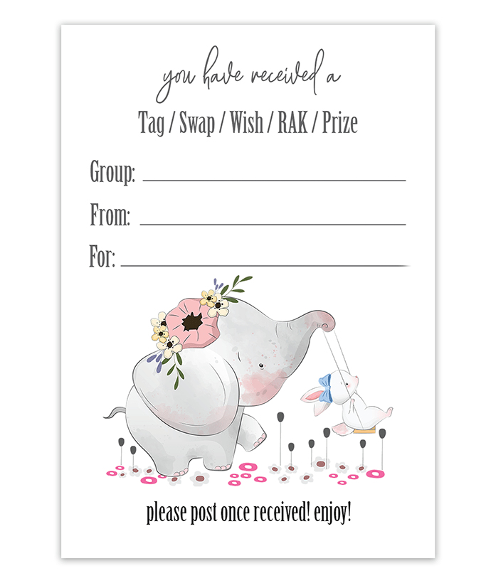 Elephant Mail Inserts For Swaps and RAK