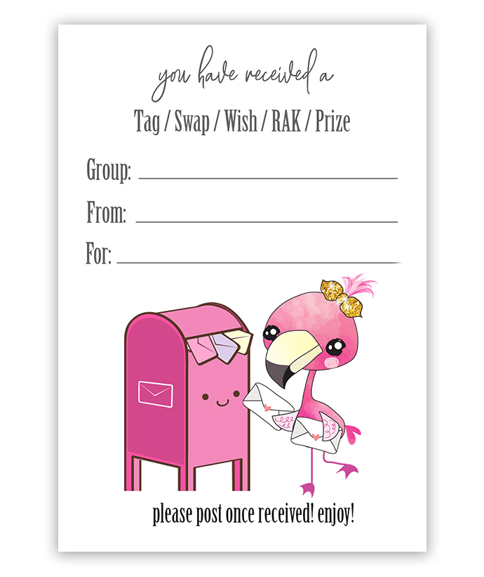 Kawaii Flamingo SWAP insert tags Facebook Swap Groups