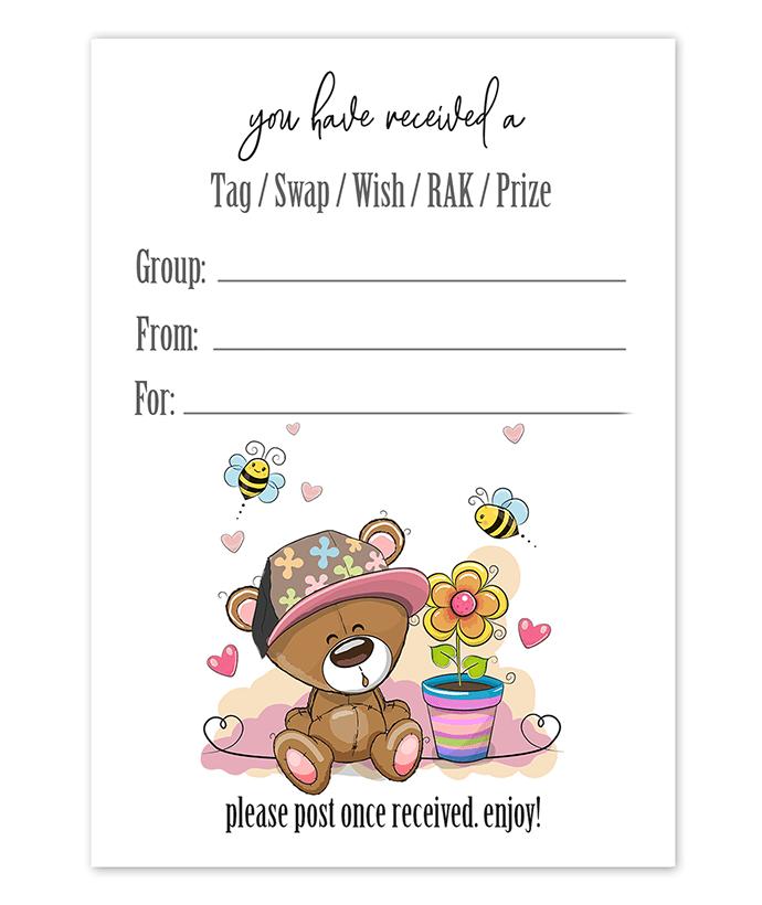 Teddy Bear Hat Snail Mail Tag Inserts