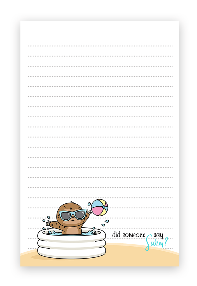 Summer Sloth Beach Theme Stationery