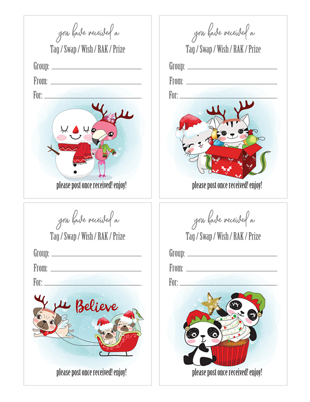 Kawaii Christmas Insert Tags