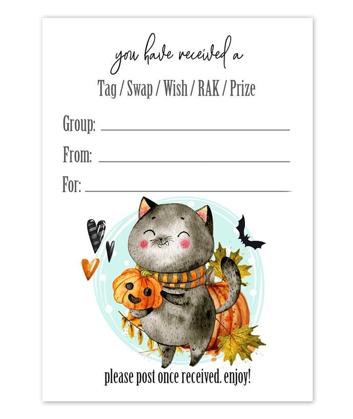 Tag Inserts - Halloween Cat