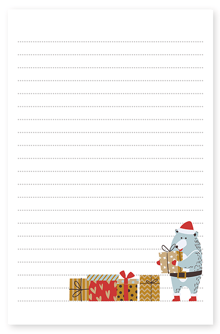 Bear Christmas Presents Stationery