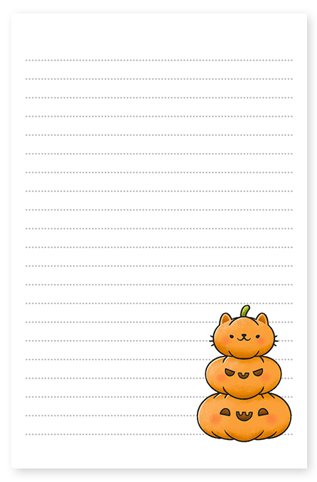 Kitty Pumpkin Stack Stationery