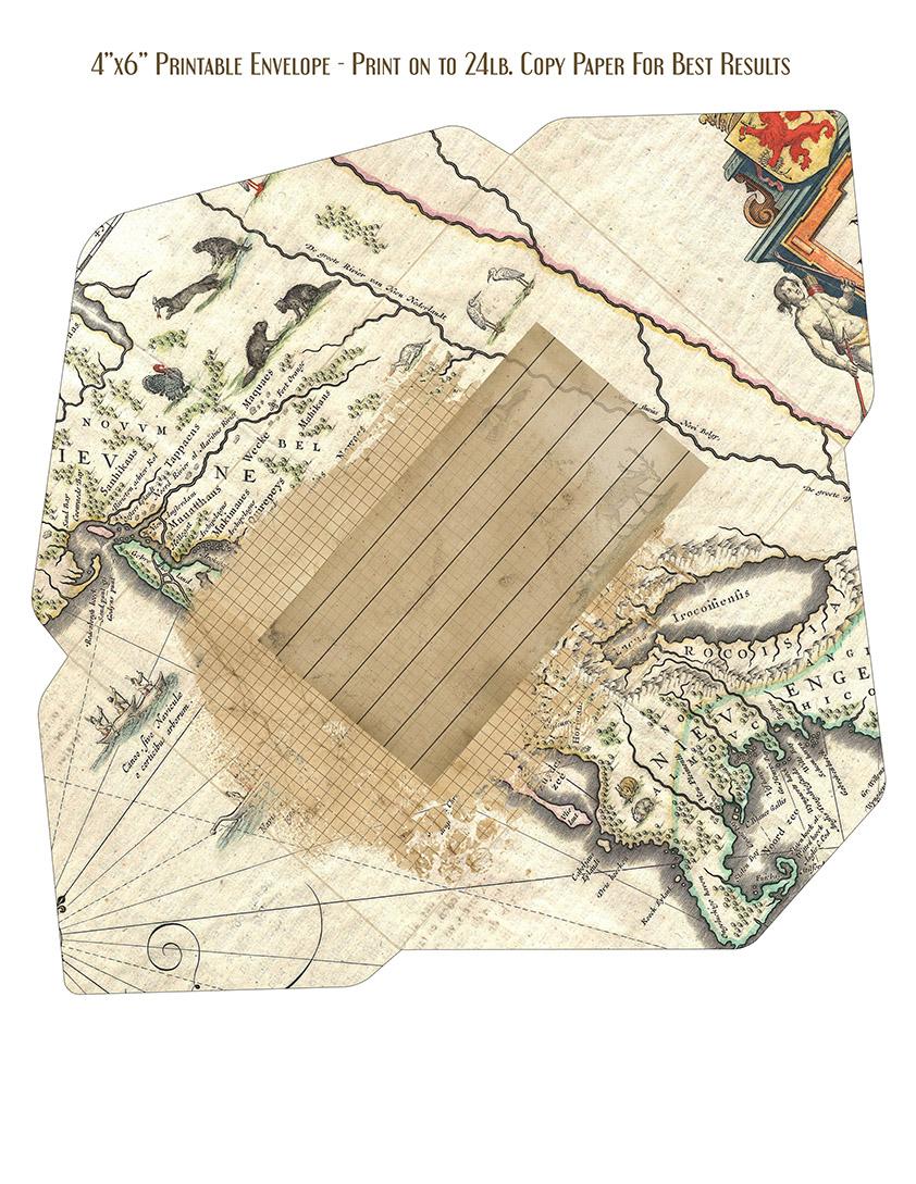 Vintage Ephemera Map Envelope