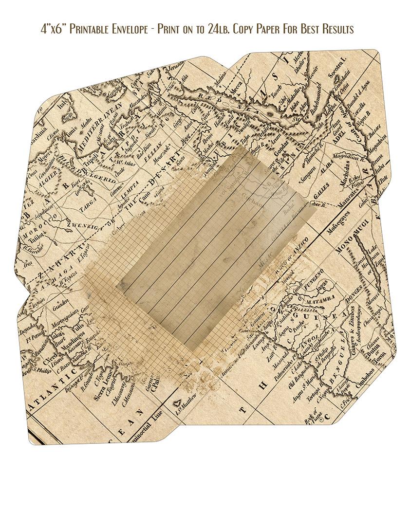 Ephemera Map Printable Envelope