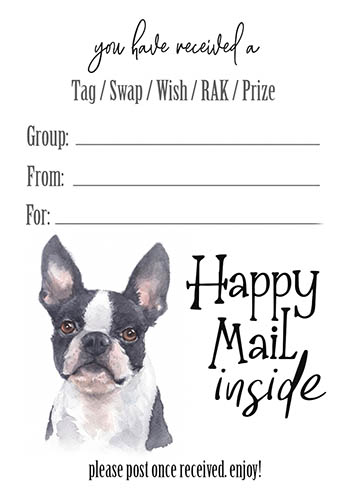 Boston Terrier Tag Inserts