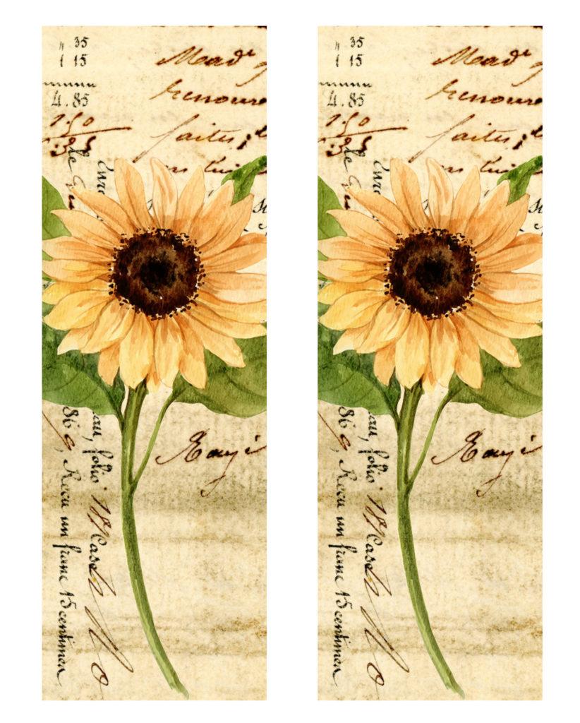 Vintage Sunflower Shaker Bookmark Printable