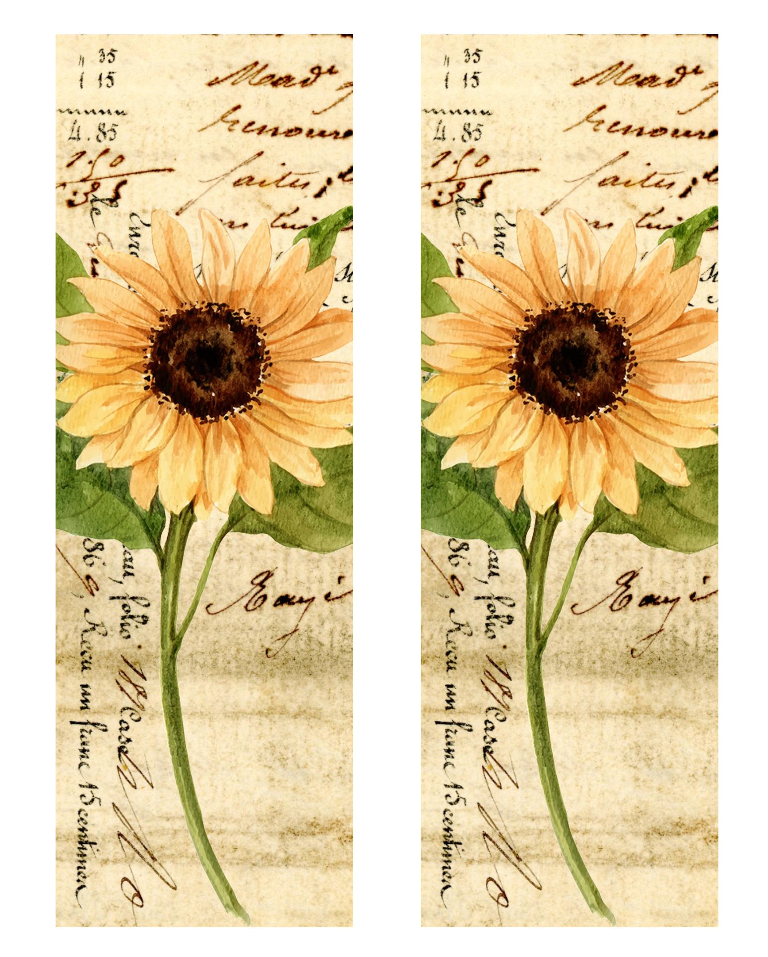 Vintage Sunflower Printable Shaker Bookmarks