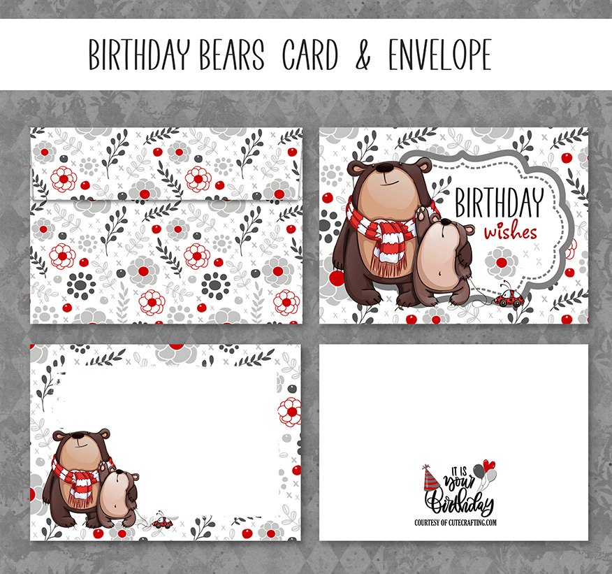Printable Birthday Bears Card Free Download