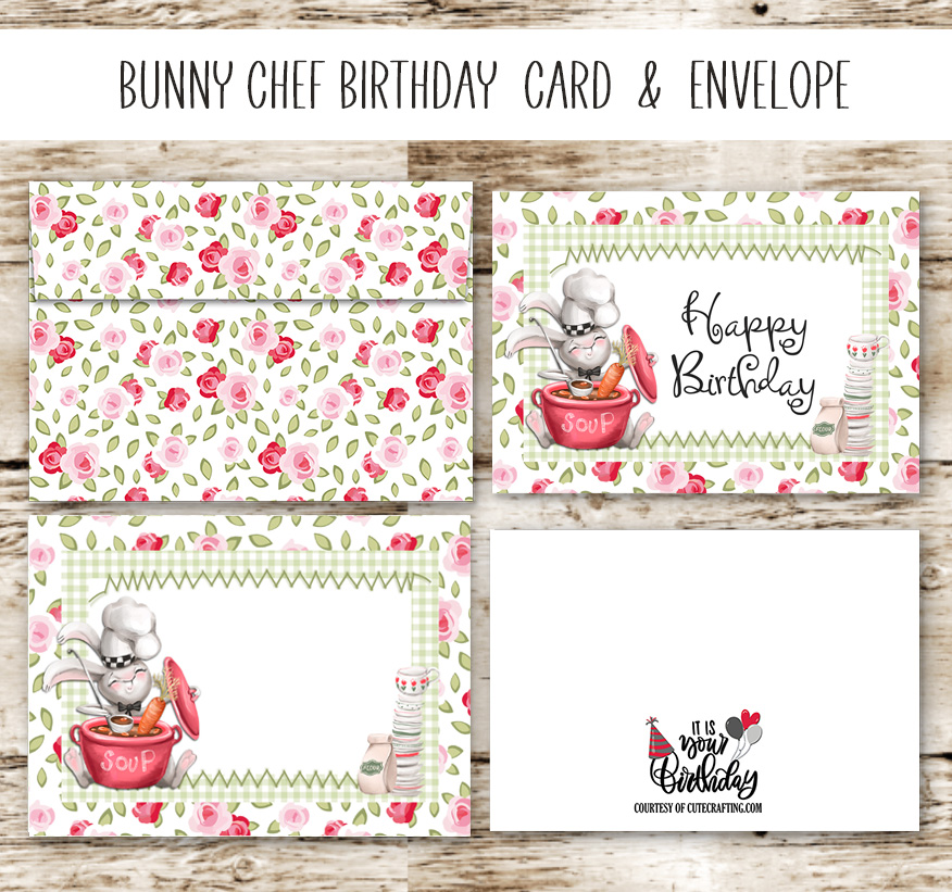 Bunny Rabbit Chef Birthday Card & Matching Envelope Free Printable