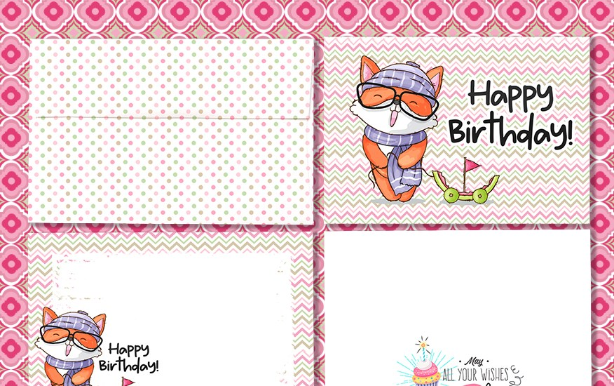 Cute Fox Birthday Card Free Download