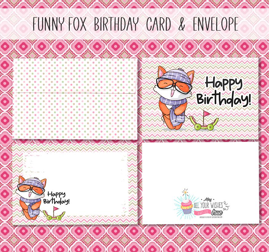 Cute Fox Birthday Card Free Download