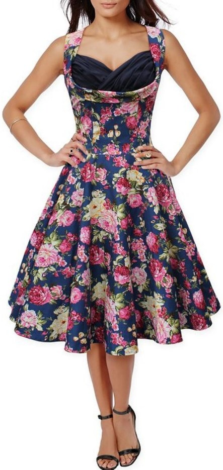 50s 60s Vintage Floral Print Divinity Rockabilly Swing Retro Dresses Pin Up Blue