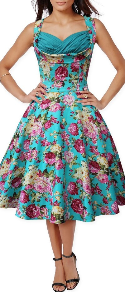 50s 60s Vintage Floral Print Divinity Rockabilly Swing Retro Dresses Pin Up Green