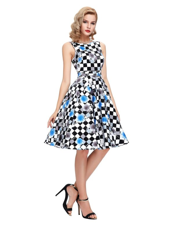 Sleeveless Cotton Vintage Tea Dress with Belt