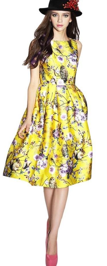 Sleeveless Flower Printed Vintage Cocktail Flare Dresses