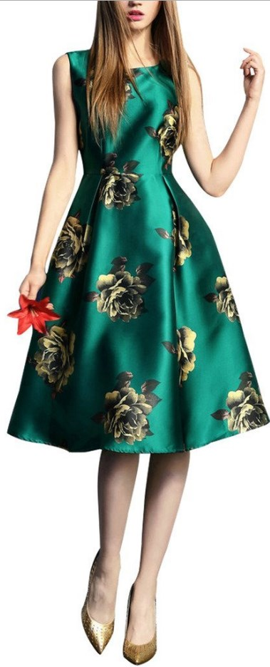 Sleeveless Flower Printed Vintage Cocktail Flare Dresses