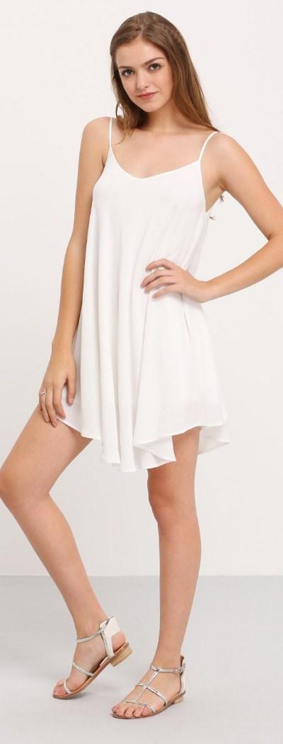 Summer Spaghetti Strap Sundress Sleeveless Beach Slip Dress white