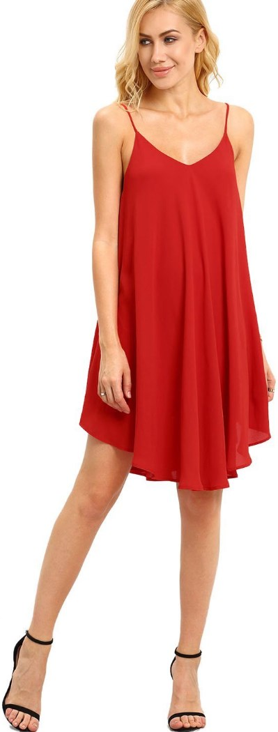 Summer Spaghetti Strap Sundress Sleeveless Beach Slip Dress red