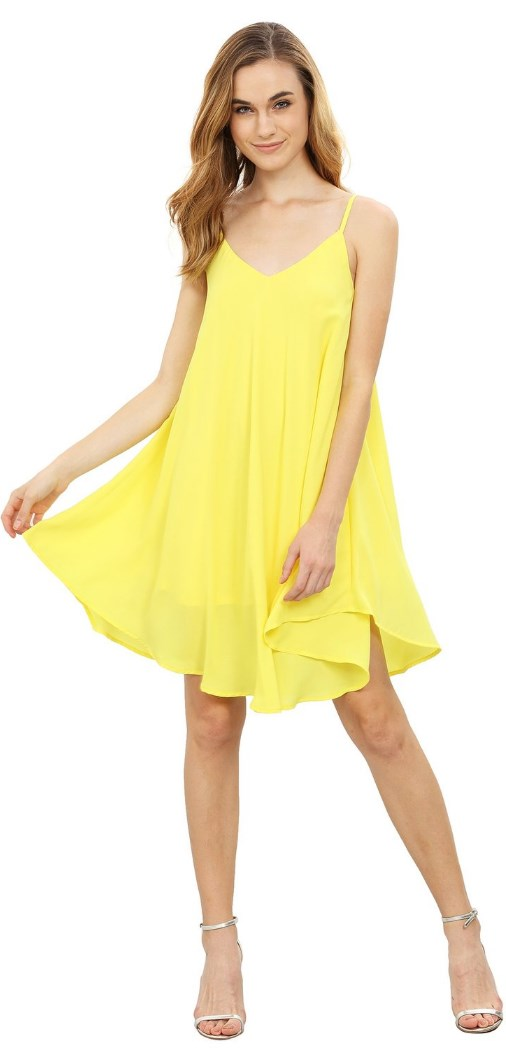 Summer Spaghetti Strap Sundress Sleeveless Beach Slip Dress yellow