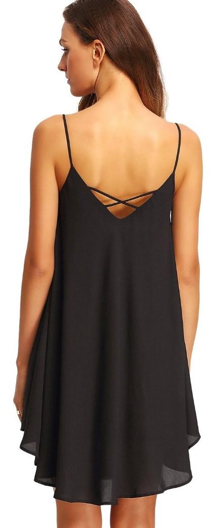 Summer Spaghetti Strap Sundress Sleeveless Beach Slip Dress black, back