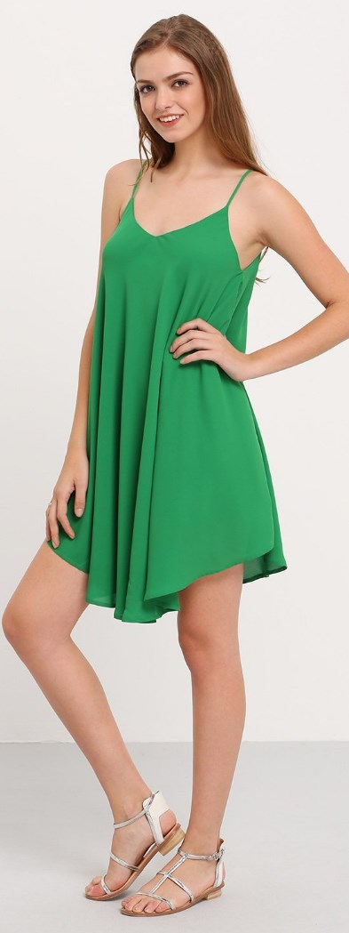 Summer Spaghetti Strap Sundress Sleeveless Beach Slip Dress Green