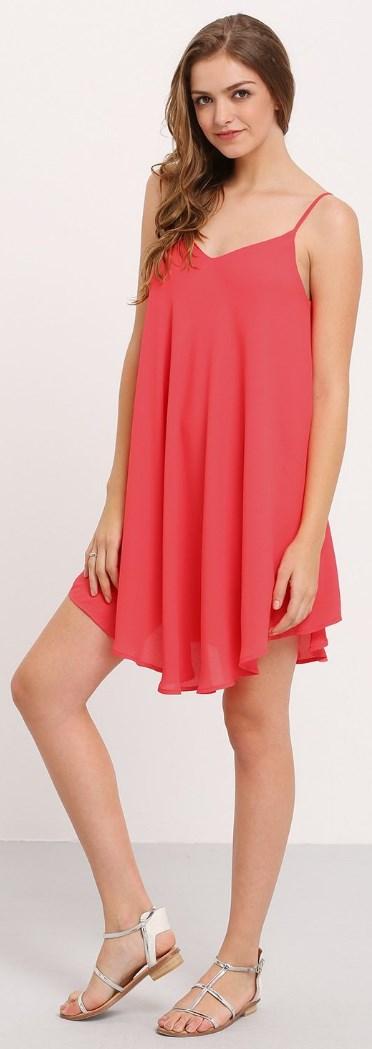 Summer Spaghetti Strap Sundress Sleeveless Beach Slip Dress dark pink