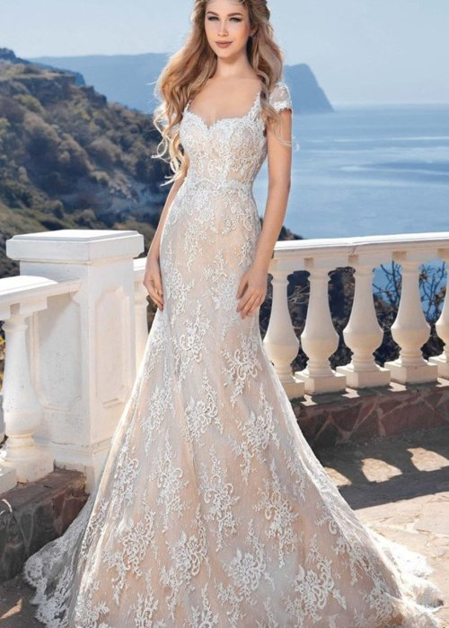 Backless Beach Wedding Gown Lace Mermaid Bride Dress