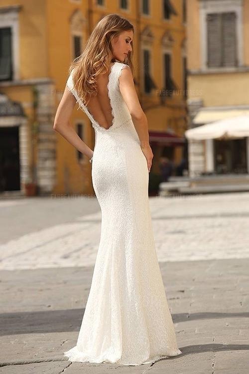 Sheath/Column Scoop Floor-length Lace Wedding Dress