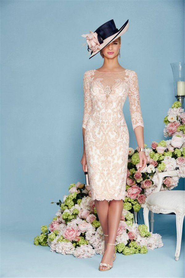 Light Pink Chiffon Lace Mother of the Bride Dress