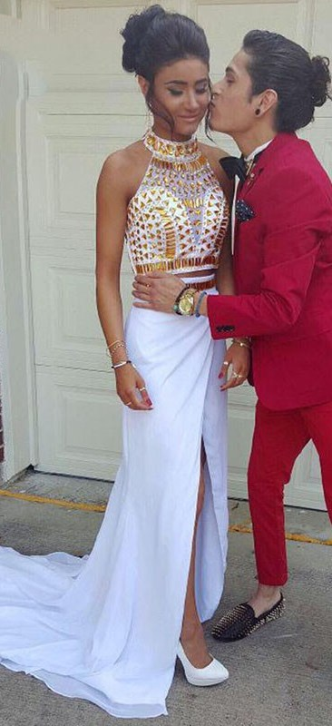 White and Gold Prom Dress with Rhinestones