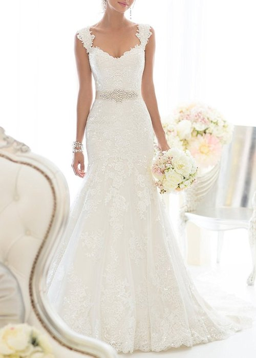 Elegant Off-Shoulder Lace Bridal Gowns White Wedding Dress 1