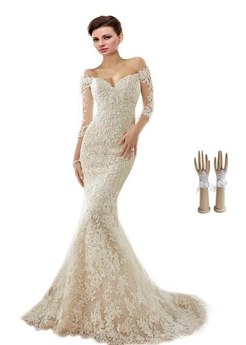 Off-the-shoulder Appliques Wedding Dress