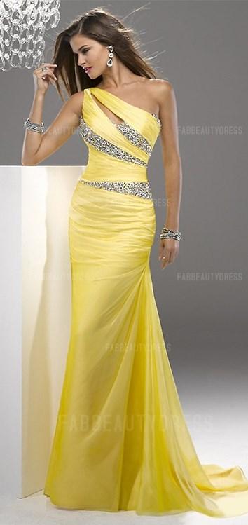 One Shoulder Court Train Chiffon Prom Dress 2