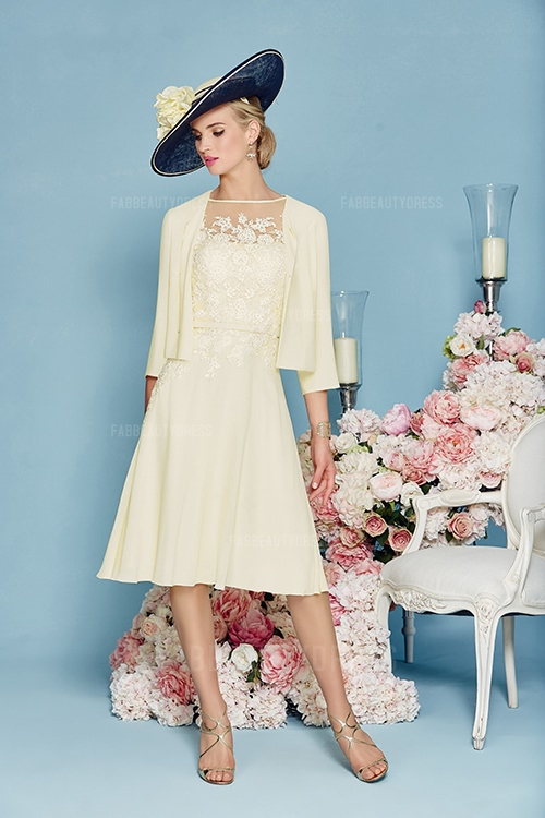 Princess Bateau Knee-length Satin Chiffon Mother of the Bride Dress
