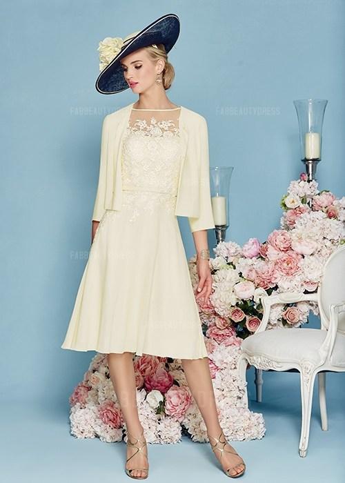 Princess Bateau Knee-length Satin Chiffon Mother of the Bride Dress