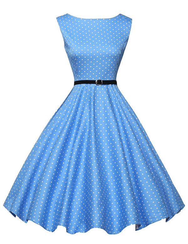 Boatneck Sleeveless Vintage Tea Dress With Belt Bestseller Blue