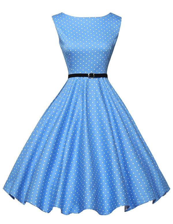 Boatneck Sleeveless Vintage Tea Dress With Belt Bestseller Blue