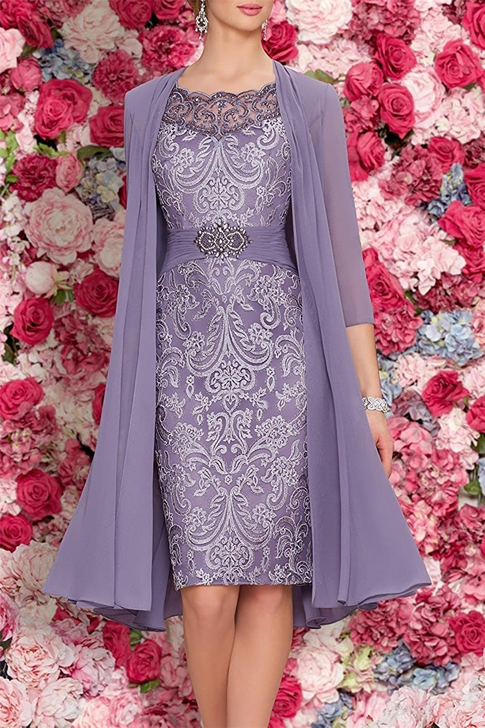 Mother Of The Bride Dresses Tea Length Two Pieces With Jacket Cute Dresses