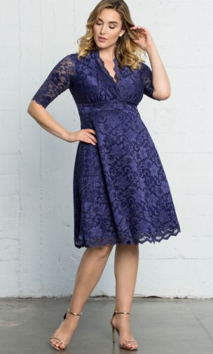 Plus Size Mother of the bride Lace Dress Blue