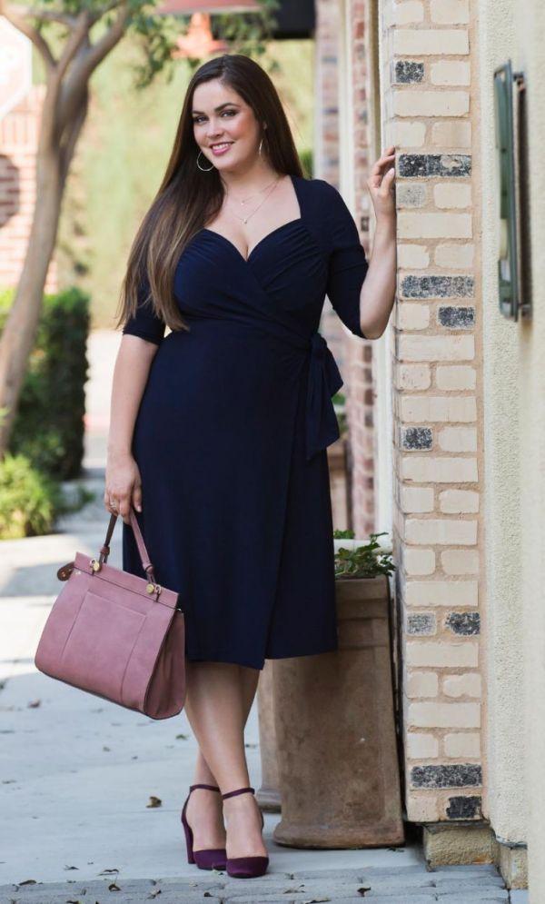 Plus Size Sweetheart Knit Wrap Dress