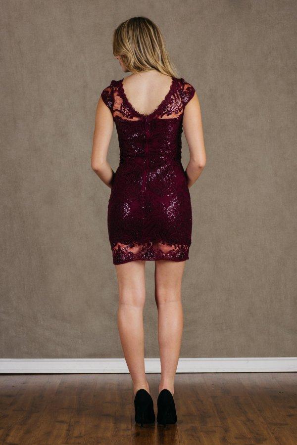 Sequin Royale Wine Bodycon Mini Dress Back
