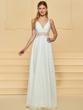 A Line Backless Beach Wedding Dress