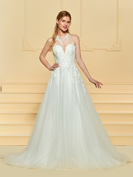 A Line Backless Tulle Wedding Dress